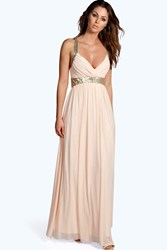 Boohoo Sequin Panel Mesh Maxi Dress Blush