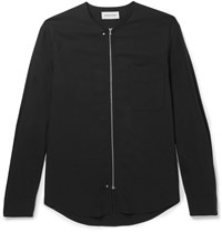Solid Homme Slim Fit Collarless Crepe Shirt Black