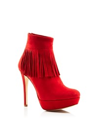 Charles David Lula Fringe Platform Booties Red