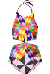 Mara Hoffman Cutout Printed Halterneck Swimsuit Baby Pink Yellow