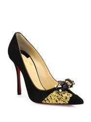 Christian Louboutin Tudor Net Suede And Brocade Point Toe Pumps Black Gold