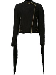 Ralph Lauren Fringed Biker Jacket Black
