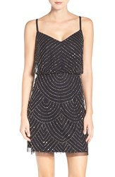 Adrianna Papell Women's Sequin Mesh Blouson Dress Black Mercury