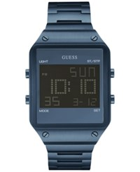 Guess Men's Digital Blue Ion Plated Stainless Steel Bracelet Watch 55X38mm U0596g4