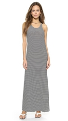 Norma Kamali Kamali Kulture Go Racer Back Maxi Dress Black Off White Stripe