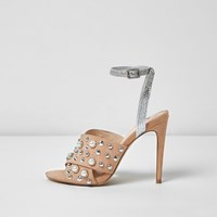 River Island Womens Nude Embellished Strappy Heel Sandals