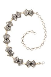 Streets Ahead Antique Silver Chain Belt With Jet Stones Metallic