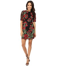 Aidan Mattox Embroidered 3 4 Sleeve Cocktail Dress Red Multi Women's Dress