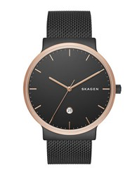 Skagen Rose Goldtone Stainless Steel Sandblast Dial Mesh Bracelet Watch Black