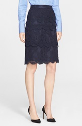 Nordstrom Signature And Caroline Issa Tiered Lace Skirt Navy Night