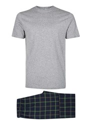Topman Navy And Grey Check Pyjama Set