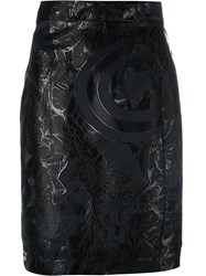 Philipp Plein Embroidered Pencil Skirt Black