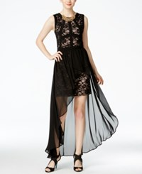 Morgan And Company Juniors' Lace Chiffon Overlay Dress Black Nude