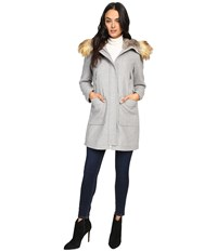 Vince Camuto Faux Fur Trim Wool L8371 Light Grey Women's Coat Gray