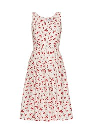 Hvn Jordan Cherry Print Sleeveless Dress Red White