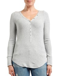 Three Dots Long Sleeve Henley Tee Grey