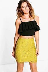 Boohoo Lace Scalloped Hem Mini Skirt Lime