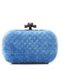 Bottega Veneta Knot Cotton And Snakeskin Clutch Blue