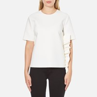 Msgm Women's Side Ruffle Short Sleeve Top White