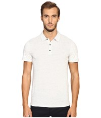 Vince Cotton Modal Mix Stitch Short Sleeve Polo Heather White Heather White
