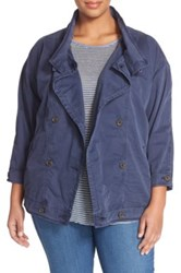 Lucky Brand Double Breasted Military Jacket Plus Size Blue