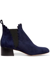 Chloe Suede Scalloped Ankle Boots Midnight Blue