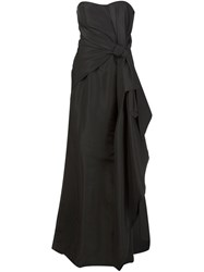 Carolina Herrera Strapless Draped Bow Gown Black