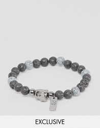 Icon Brand Beaded Bracelet With Charm Exclusive To Asos Grey