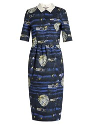 Stella Jean Badare Point Collar Abstract Print Dress Blue White