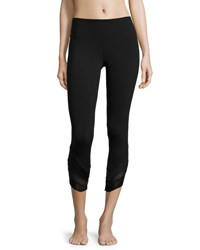 Alo Yoga Edge Mesh Panel Capri Sport Leggings Black Black Blk Glossy