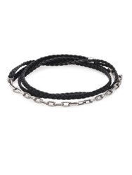Title Of Work Sterling Silver And Leather Wrap Bracelet No Color