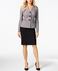 Le Suit Three Button Tweed Jacket Skirt Suit Black White