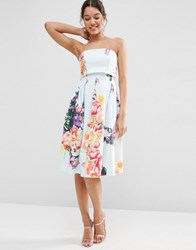 Asos Fold Over Bandeau Mini Prom Dress In Placed Bouquet Floral Blue