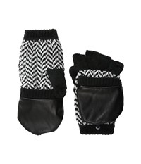 Plush Fleece Lined Herringbone Texting Mittens Black White Over Mits Gloves