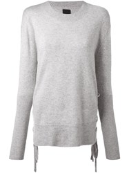 Road To Awe Lace Detail Long Sleeve Sweater Grey
