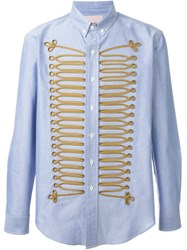 Palm Angels Military Embroidery Shirt Blue
