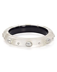 Alexis Bittar Crystal Studded Hinge Bangle Silver