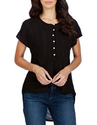 Lucky Brand Embroidered Short Sleeve Top Jet Black