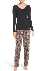 Betsey Johnson Women's Flannel Pajamas Swanky Leopard Natural