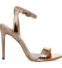 Office Alana Metallic Leather Sandals Rose Gold Leather