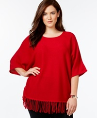 Ny Collection Plus Size Knit Fringe Poncho Sweater Super Red