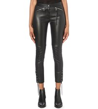 Belstaff Cantrell Skinny Mid Rise Leather Trousers Black