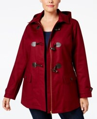 Charter Club Plus Size Toggle Front Hooded Coat Only At Macy's Cranberry Red