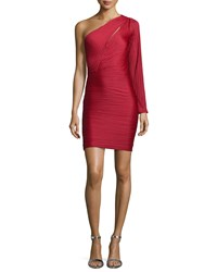 Halston Heritage One Shoulder Ruched Cocktail Dress Paprika Red