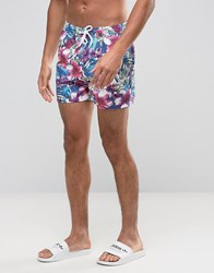 Asos Swim Shorts With Tropical Floral Print In Short Length Blue