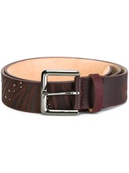 Etro Studded Embossed Belt Brown