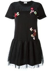 Red Valentino Floral Embroidery Flared Dress Black