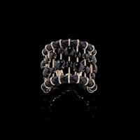 Fabio Salini Cuff Bracelet In Pink Gold And Leather With Onyx And Diamonds Black