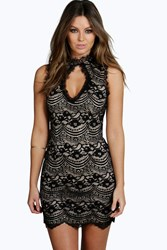 Boohoo Laura Lace Keyhole Bodycon Dress Black
