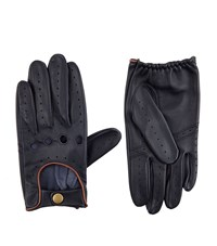 Harrods Of London Leather Driving Gloves Unisex Navy